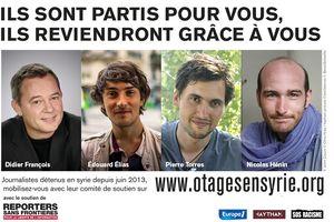 Les otages français Didier François, Edouard Elias, Nicolas Hénin et Pierre Torres sont libres.