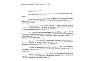 Réponse du Maire de Toulouse concernant la Place du Busca