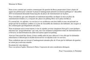 lettre au maire de Toulouse pour le projet de la place du Busca