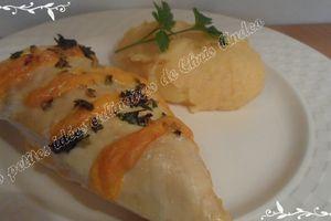Filets de poulet fourrés à la mimolette et purée de pommes de terre / carottes