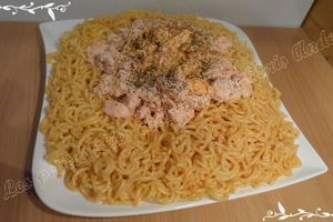 Spaguetti courts au saumon frais