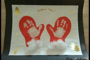Gants de Père-Noël avec empreintes de mains.