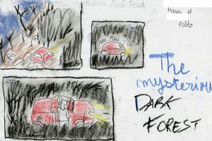 The Mysterious Dark Forest written, illustrated and played by Maya & Pablo (5°4)