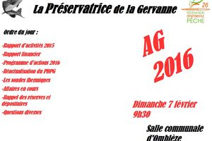 """Assemblée Générale 2016 ( aappma """" la préservatrice de la Gervanne """")"""