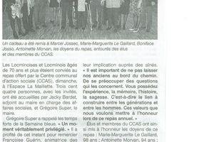 Article Ouest France - Repas du CCas