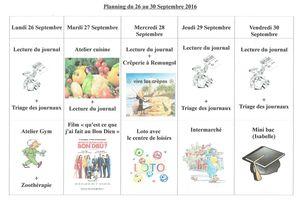 Planning semaine 39