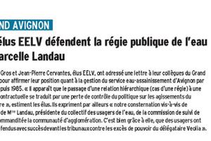 Quel service public de l'eau  pour le Grand Avignon ?