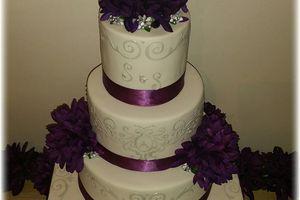 Wedding Cake Purple and Silver