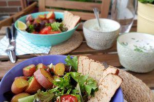 Veggie bowl équilibré / Sauces au yaourt : ciboulette ou ail des ours