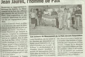 Retour sur la conférence sur Jean Jaurès organisée par le  Mouvement de la Paix et  Cap à Gauche