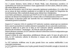 la CGT Latécoère solidaire des ouvrières tunisiennes en grève de la faim