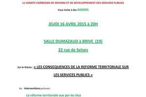 Réunion publique le 16 avril à Brive : Réforme Territoriale et services publics
