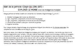 Bilan n°1 Explorer le monde (Sept-Oct 2016-2017)