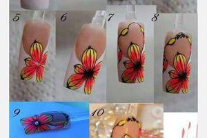 Nail art fleur sur french manucure, tutoriel image, nail art fleurs