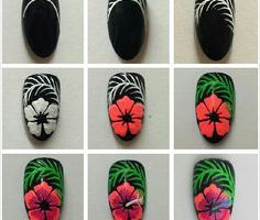 tutoriel nail art hibiscus