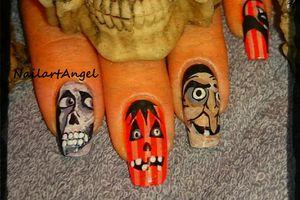 Nail art Halloween, la galerie des monstres, nail art, nail art tête de mort, nail art socière, nail art citrouille