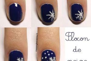 Tutoriels, nail art flocon de neige, nail art hiver, nail art neige, nail art facile