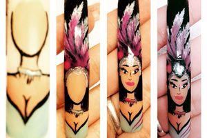 Nail art carnaval ( Rio de JANEIRO) tutoriel