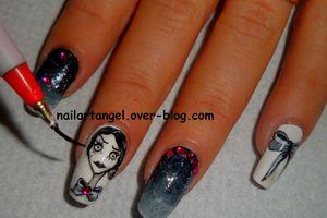nail art halloween, nail art girly, nail art Tim Burton, nail art noeud, #nailartangel