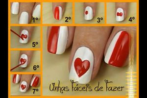 Nail art coeur, nail art pas à pas, tutoriel, nail art saint valentin, nail art girly, nail art coeur tutoriel