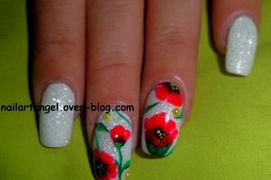 Nail art coquelicot, nail art fleurs one stroke, nail art printemps, nail art step by step