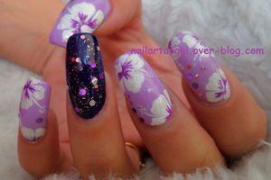 Nail art hibiscus, nail art fleurs, nailartangel, nail art step by step