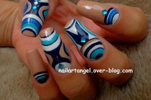 Nail art tribal, nail art design tutorial,nail art bleu