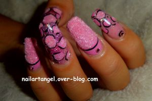 Nail art facile, nail art girly, nails art léopard, poudre de velours, nailartangel