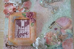 "Toile ""Love"" en mixed media - Mixed media canvas ""Love"""