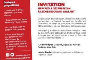 #NosViesDabord : rencontre sur le logement jeudi 2 novembre à Fontenay-sous-Bois