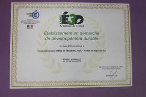 """L'école élémentaire Joliot Curie obtient le """"Label E3D"""" (établissement en démarche de développement durable)"""