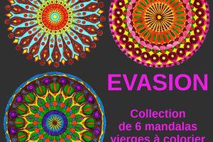 Mandalas originaux à colorier - Collection EVASION composée de six grands modèles vierges