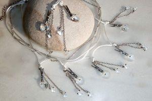 Jean PincePourtoa - Parure collier et boucles d'oreille aux coeurs de cristal et pinces à linge en argent du Tibet