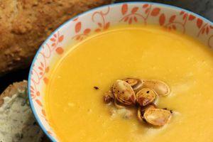Soupe potiron carotte et ricotta