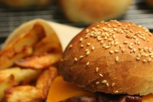 Burger bacon mimolette et potatoes au parmesan