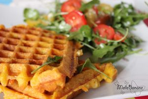 Gaufre patate douce, poulet &co