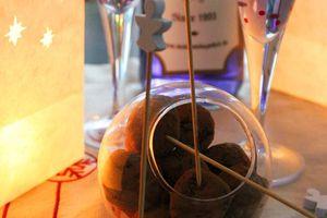 Truffes au chocolat et peket violette