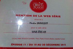 VOUS ETES ICI récompensé au festival PARIS COURTS DEVANT