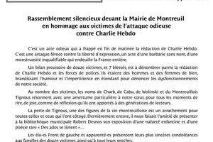 Rassemblement en mémoire des journalistes et personnels de Charlie Hebdo