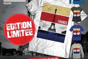 T-shirt: France - Île de France - Paris 75 - La Tour Eiffel - Bleu Blanc Rouge.