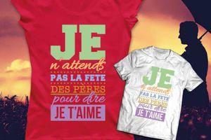 T-shirt France: Fête des pères - 'Papa, je t'aime'