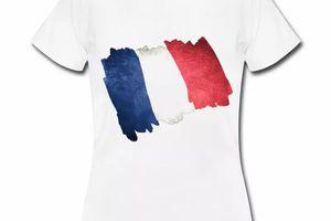 T shirt bleu blanc rouge Drapeau Français en dessin FBL
