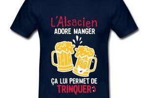 T Shirt Alsace bleu m homme Manger permet de trinquer