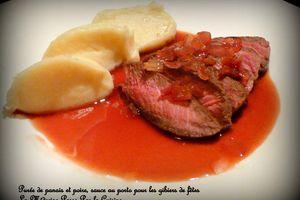 Purée de panais et poire, sauce légère au porto pour accompagner les viandes de fête