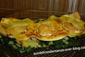 Lasagnes aux épinards, chaire de crabe et chèvre