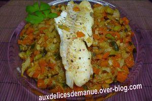 filet de merlan sur compotée de légumes au cidre et balsamique blanc