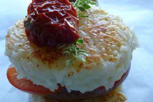 Burger de galettes de riz chipolata ou merguez au comté