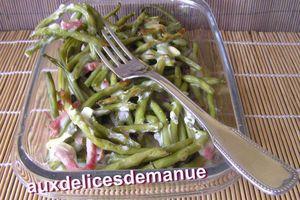haricots verts et bacon à la béchamel au chèvre -LIGHT-