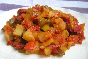 trio de poivrons aux tomates, pomme de terre et chorizo -LIGHT-