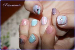 """Nail Art """"Guimauve"""" à la façon de Poupinette"""